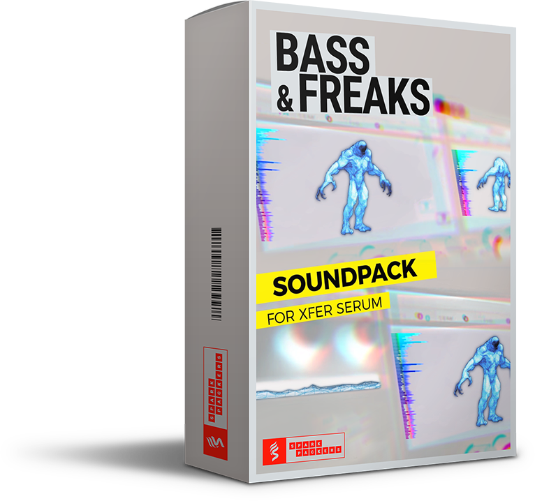 SparkPackers virtual box showing a cuddly mutant dancing on top of Serum's GUI. Be extra-ordinary with this sound pack.