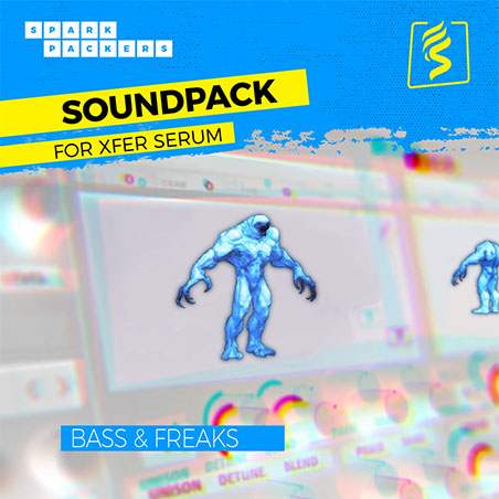 Cover image of the virtual Serum Future Bass Preset Pack called Bass and Freaks