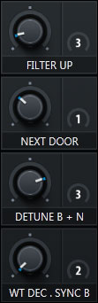 Macro Section of Serum with pre-assigned knobs that give you access to the most magic element of each preset. Taken from sound pack Bass & Freaks. Example 2.