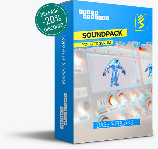 Big virtual box with Release Discount Badge of the serum preset pack 'Bass & Freaks' featured on SparkPackers main product page. A must have if you produce Future Bass music