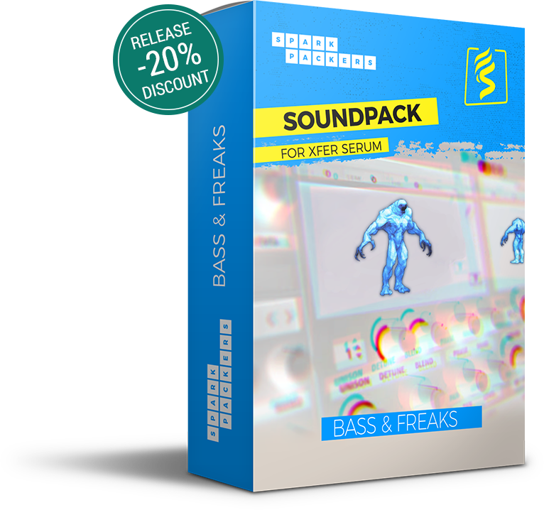 SparkPackers virtual box showing a cuddly mutant dancing on top of Serum's GUI. Be extra-ordinary with this sound pack. Intro Discount 20 percent off