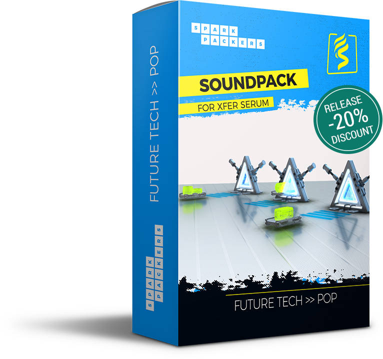 SparkPackers virtual box showing a virtual future stage that is the cover of our Sound Pack 'Future Tech Pop' with Release Discount 20 percent off