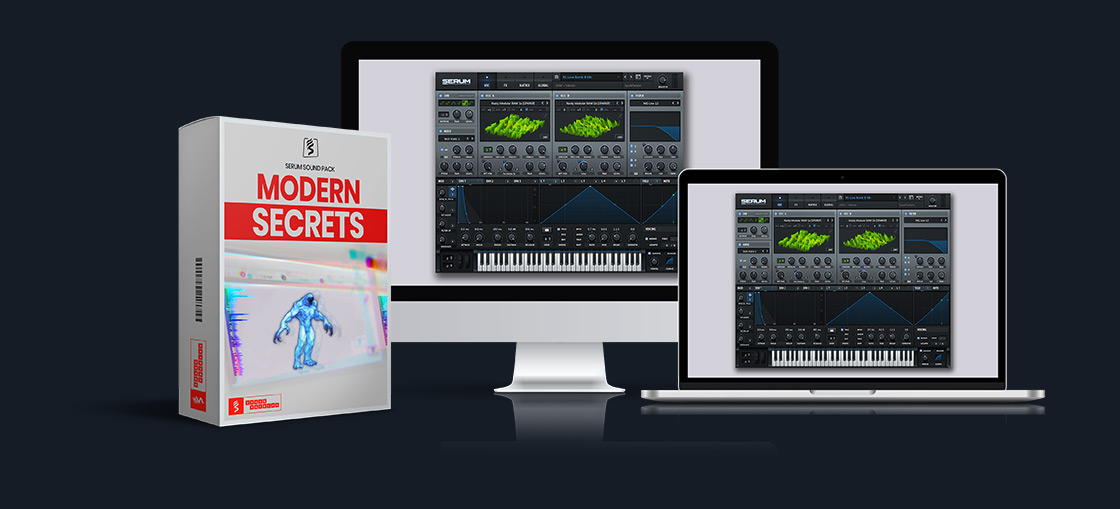 virtual screens with serum gui next to SparkPackers virtual preset pack called 'Bass and Freaks'. Genre: Future Bass