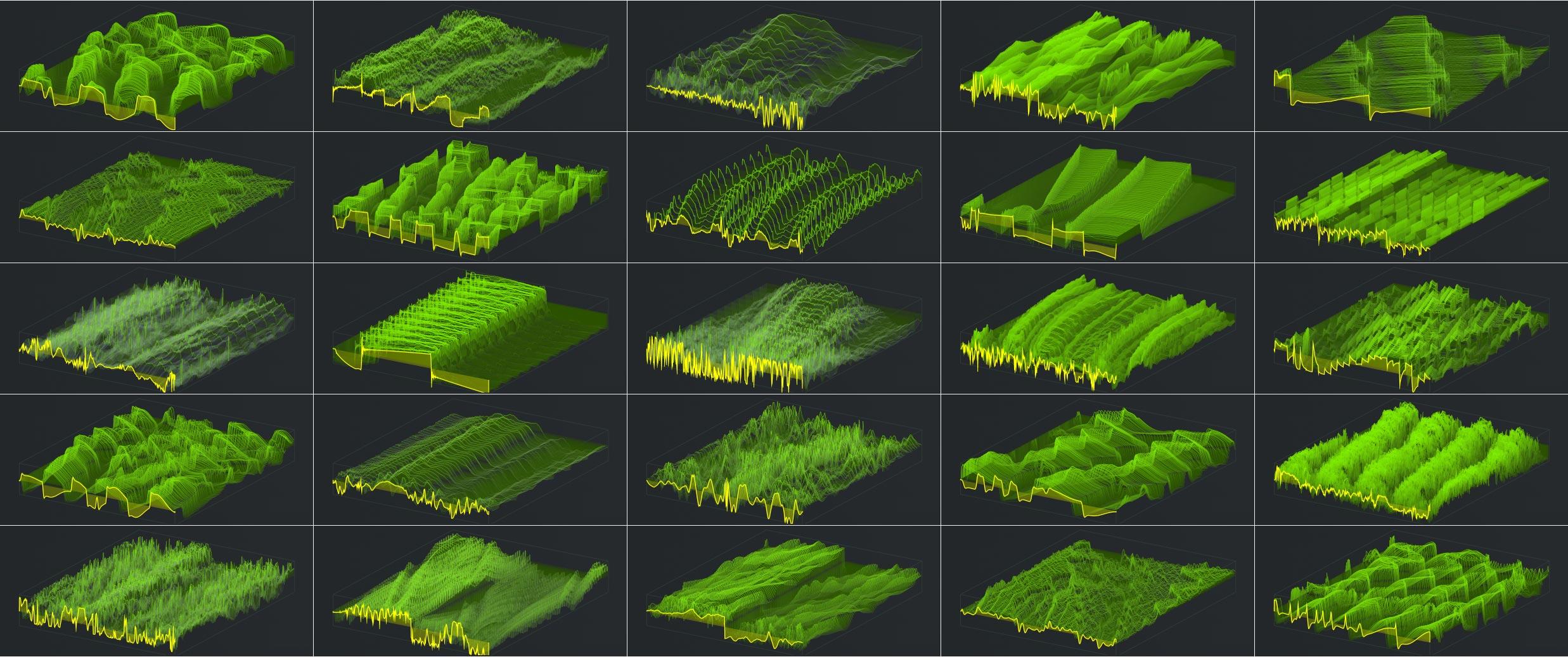Collage of multipe Serum Wavetables. Artwork