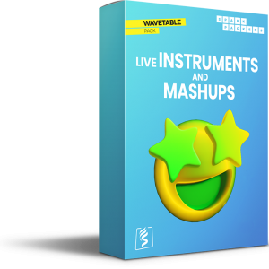 Virtual Box of the Wavetable Pack Live Instruments with an emoji with starts in its eyes