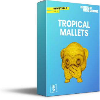 Virtual Box of SparkPackers Wavetable Pack called Tropical Mallets with a gasping monkey on it