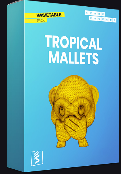 Transient-rich, clean and colorful Serum Wavetables - Virtual box of the pack called Tropical Mallets