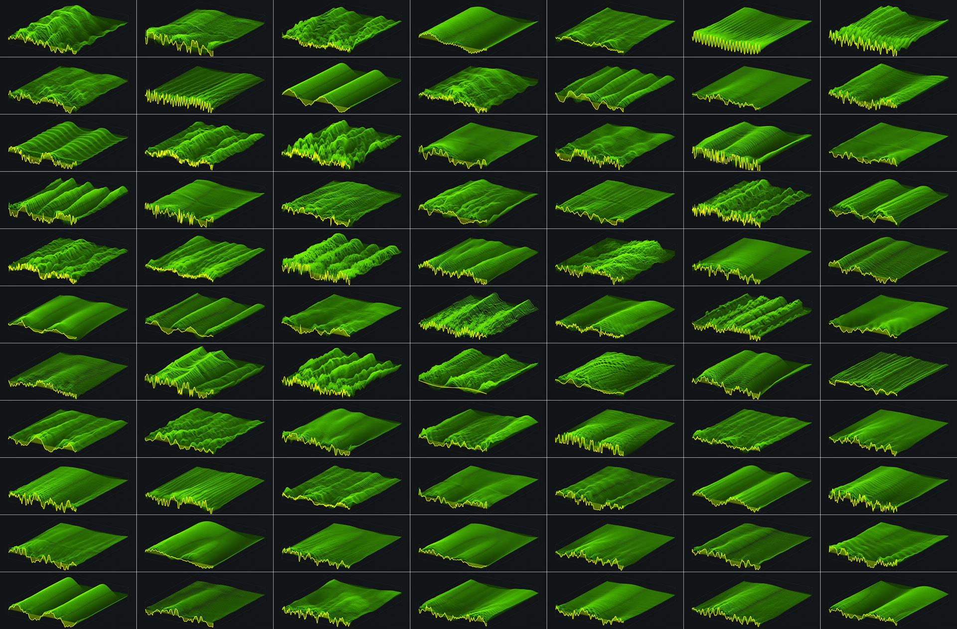 Collage of all wavetables taken from Xfer Serum GUI that come with the tropical mallets pack from sparkpackers