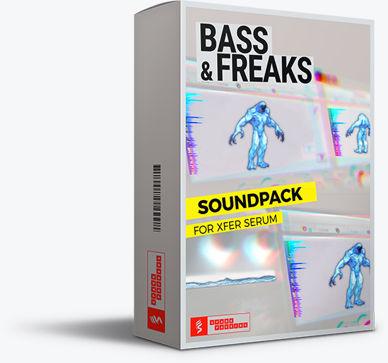 Big virtual box of the serum preset pack 'Bass & Freaks' featured on SparkPackers main product page. A must have if you produce Future Bass music