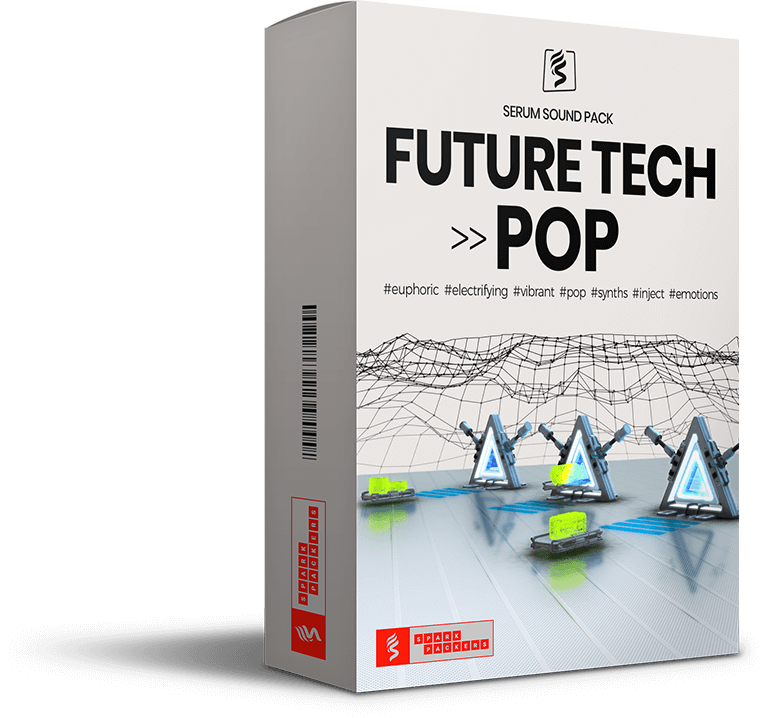 SparkPackers virtual box showing a virtual future stage that is the cover of our Sound Pack 'Future Tech Pop'