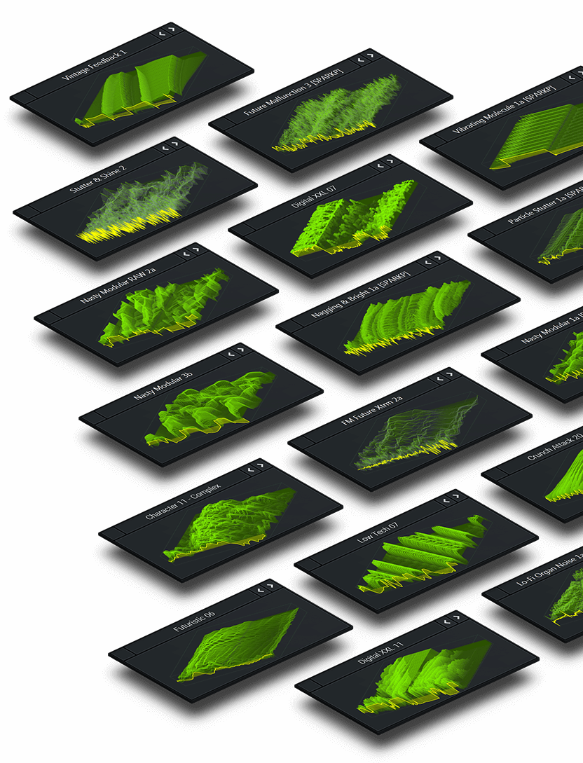 Selection of Serum Wavetables floating in 3D over a dark background