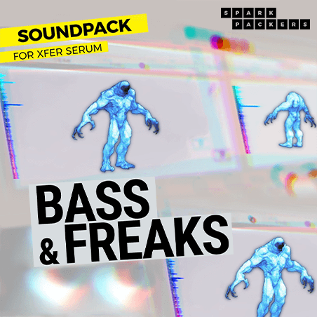 Cover photo of the virtual Serum Preset Pack box called Bass & Freaks showing the cute monster dancing on Serum's GUI