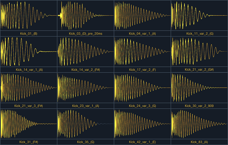 collage of selected waveform screenshots of bass drums that come with the sample pack 'delicious kicks'