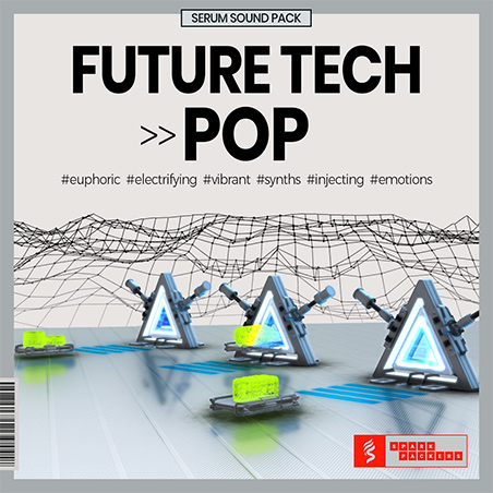 Cover photo of the virtual Serum Preset Pack box called Future Pop showing virtual gates that beam your production to the next level