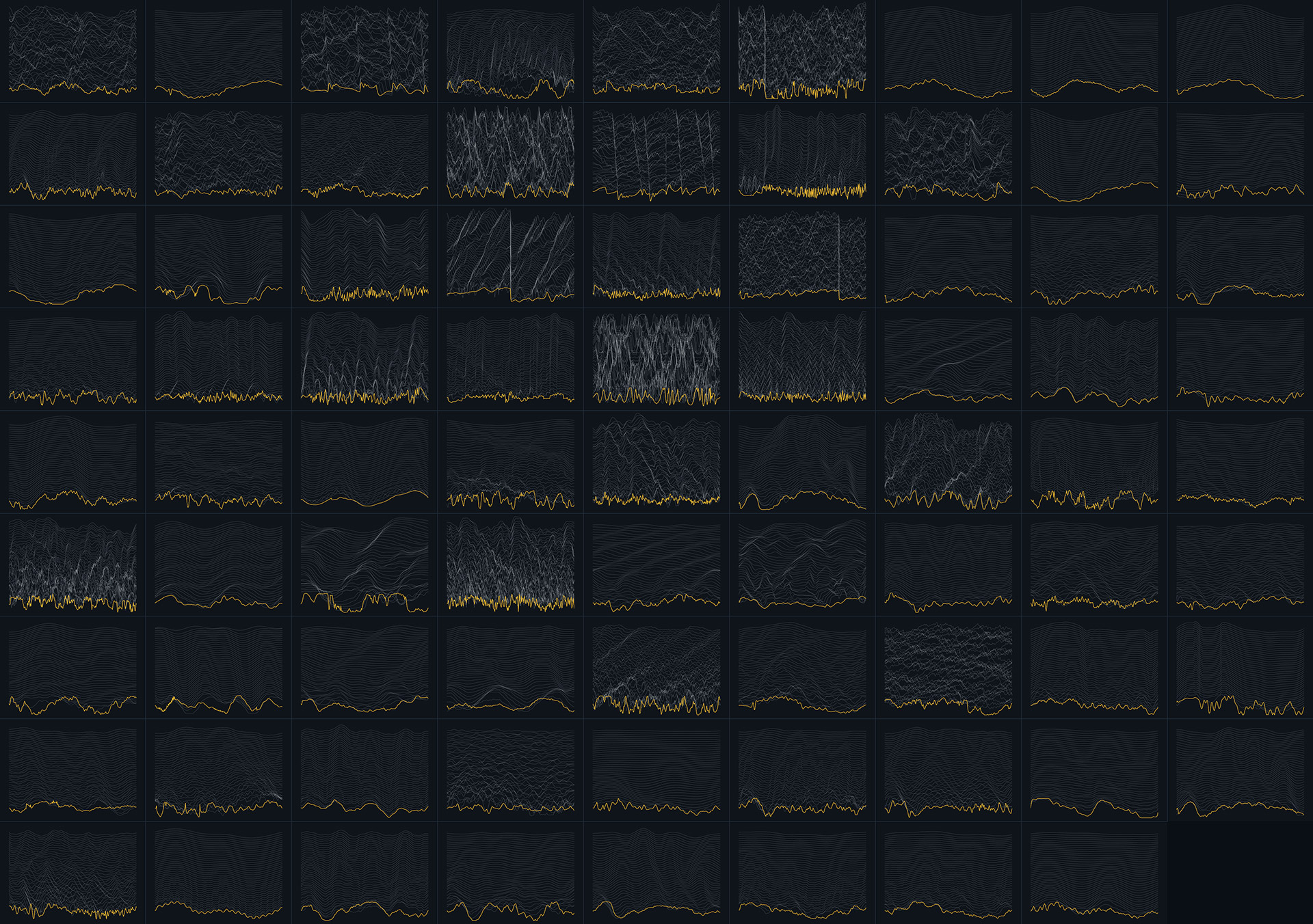 Collage of screenshots taken from Ableton Wavetable presetssynth's GUI showing custom made acoustic live instruments wavetables