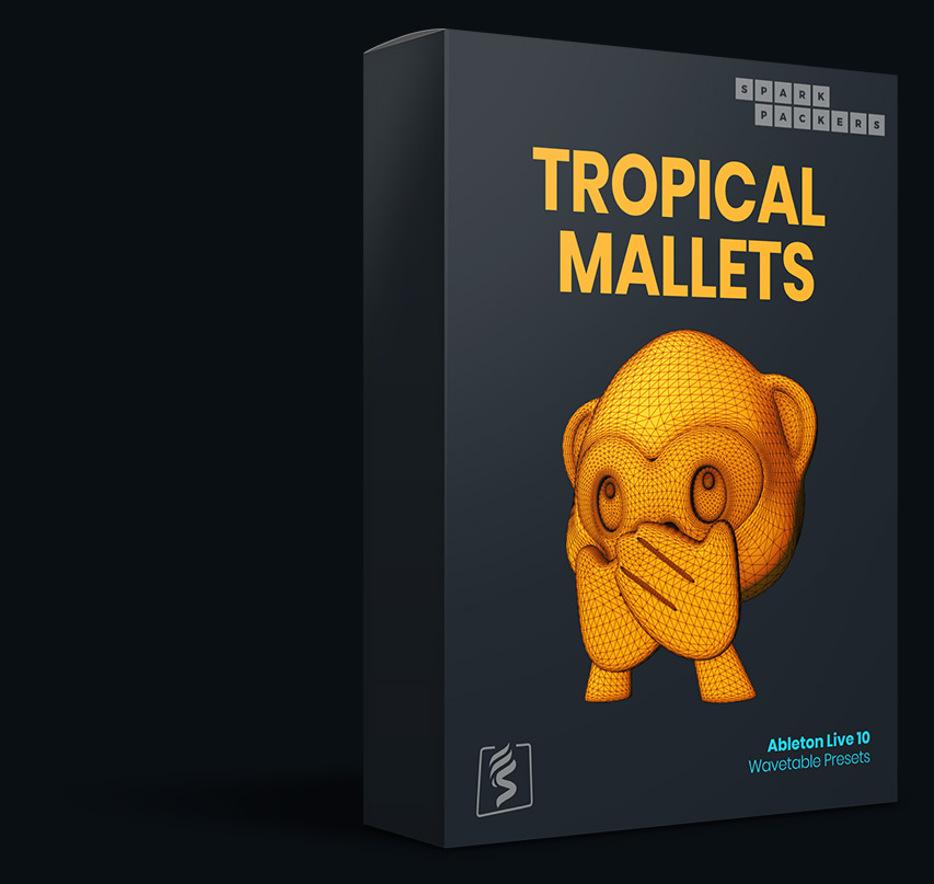 Virtual box for the Ableton Wavetable Presets called Tropical Mallets that come with custom built wavetables and presets for ableton live 10 and used on sparkpackers product page