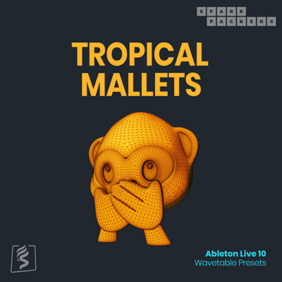 Poduct cover image for the ableton wavetable presets called tropical mallets, a pack full of percussive sounds for ableton live 10