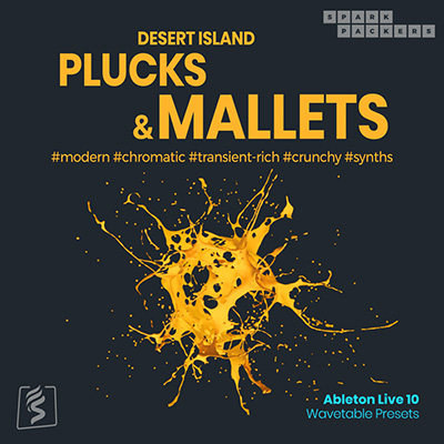 Poduct cover image for the ableton wavetable presets with desert island plucks and mallets, a pack full of percussive sounds for ableton live 10