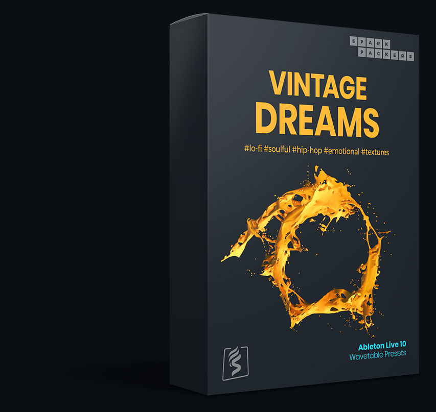 Virtual box for the Ableton Wavetable Presets pack called Vintage Dreams with custom built wavetables and lo-fi presets for ableton live 10