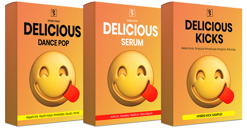 Banner showing SparkPackers' complete Delicious Series featuring the main SparkPack Dance Pop and the Serum Add-on preset pack