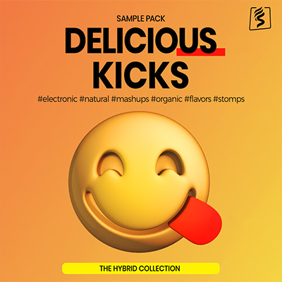 cover photo of sparkpackers sample pack called delicious kicks full of charismatic, hybrid bass drum samples