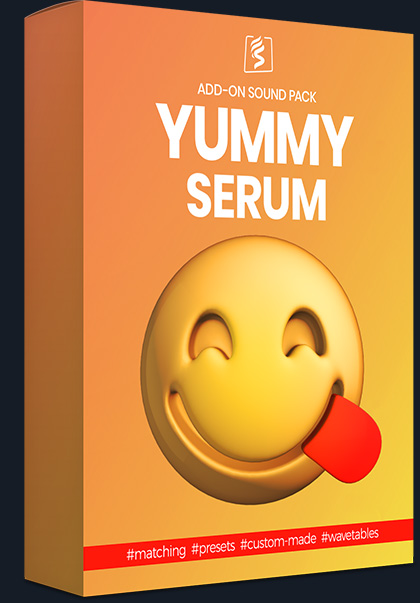 Product box image for the delicious serum add-on pack, a sound pack for serum coming with all the original presets used for the audio content of the main spark pack