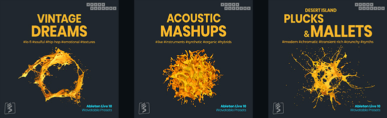 cover images of all three Ableton Wavetable Presets packs bundled in a special bundle deal