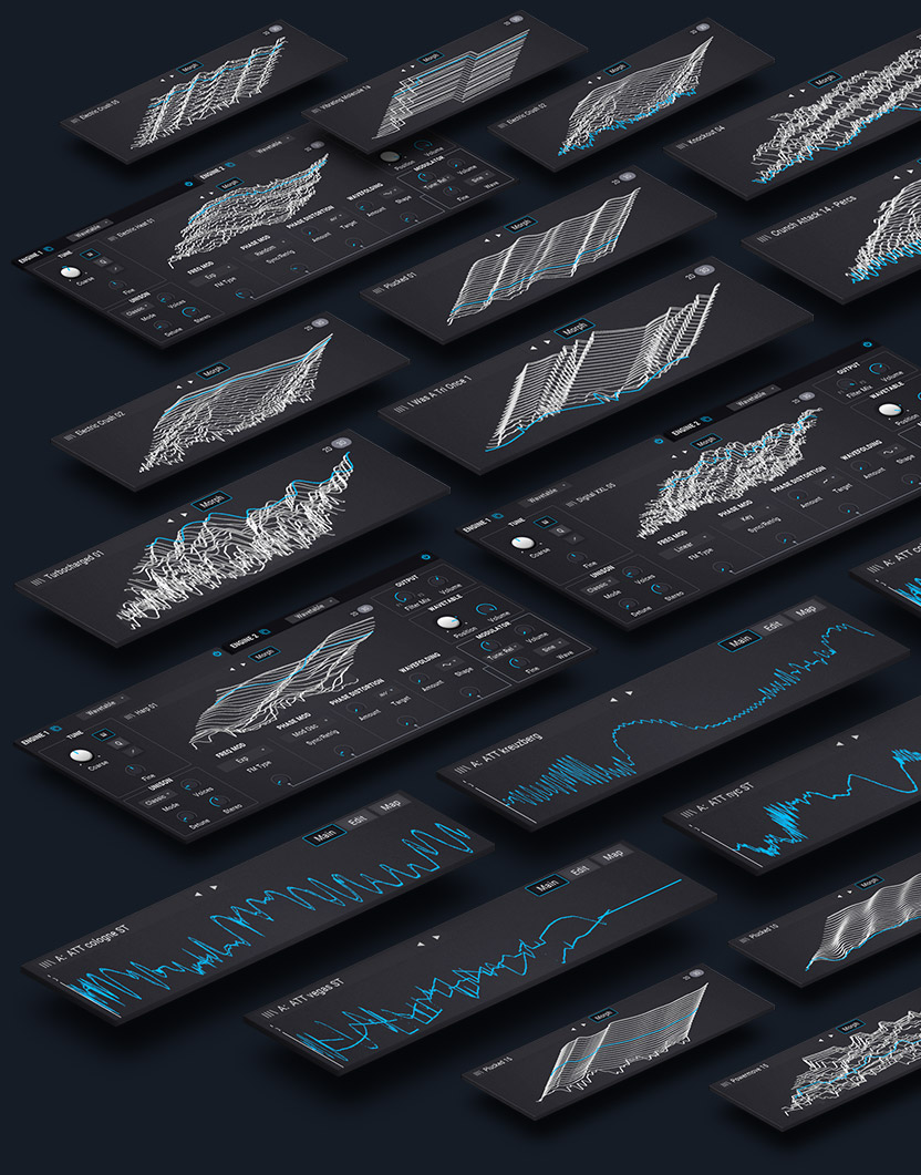arturia pigments presets and custom wavetables put into a 3D perspective collage