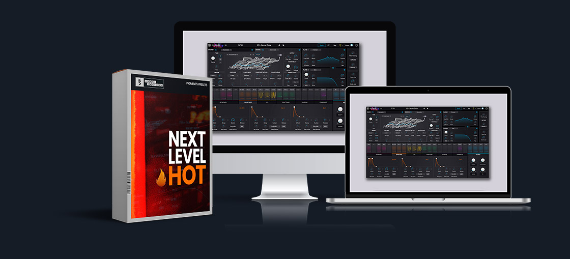 a virtual product box full of pigments presets called next level hot next to two virtual screens with the arturia pigments gui opened