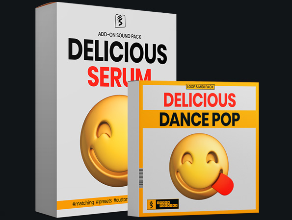 virtual boxes showing the delicious dance pop bundle with melody loops and matching midi plus serum presets