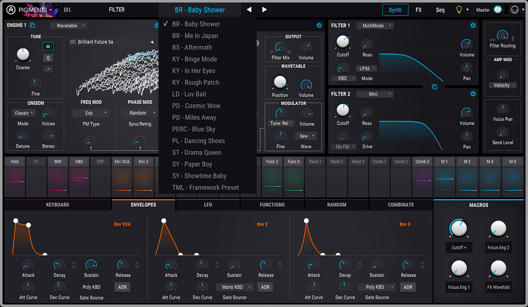 screenshot of arturia pigments showing a list of the 15 free presets