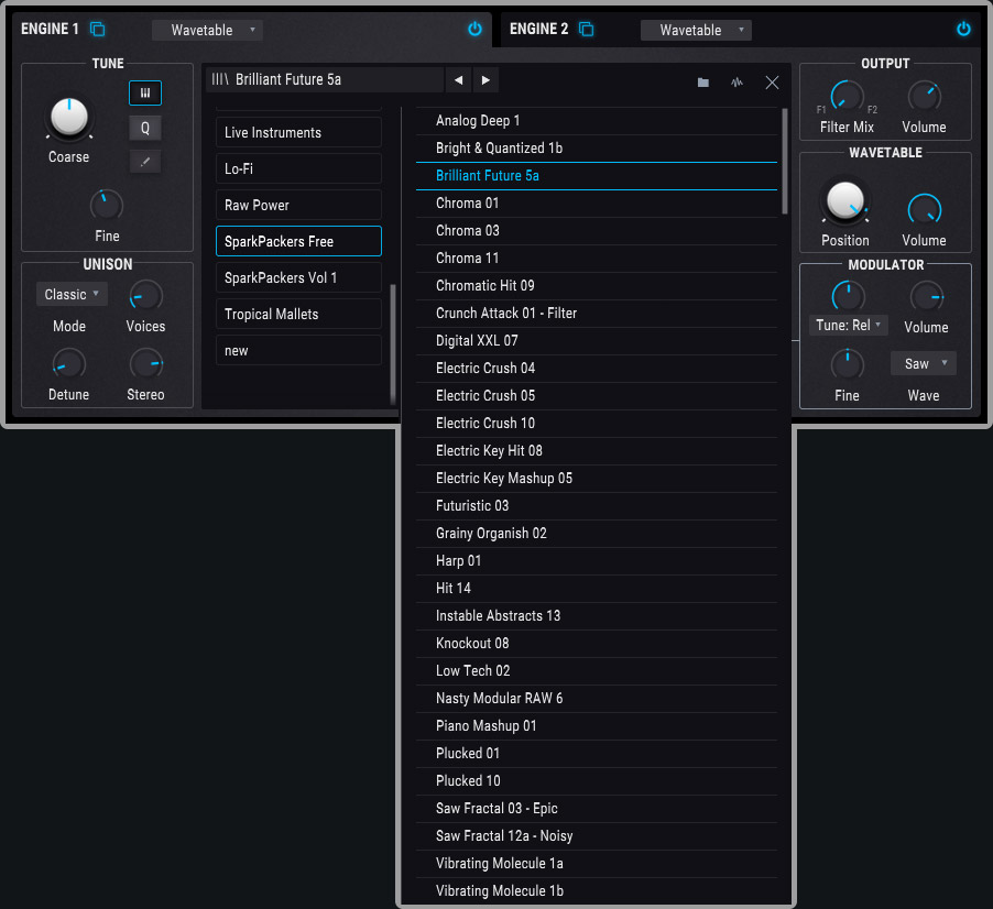 gui screenshot of pigments showing the free wavetables that are also included