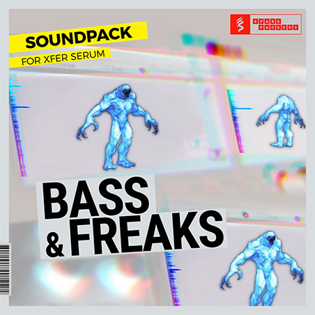 new cover graphic design of the bass and freaks pack with presets for serum