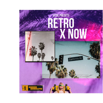 cover image of retro x now, a preset bank for the wavetable synth vital that comes with lush pads, and neon cyberpunk-ish sounds