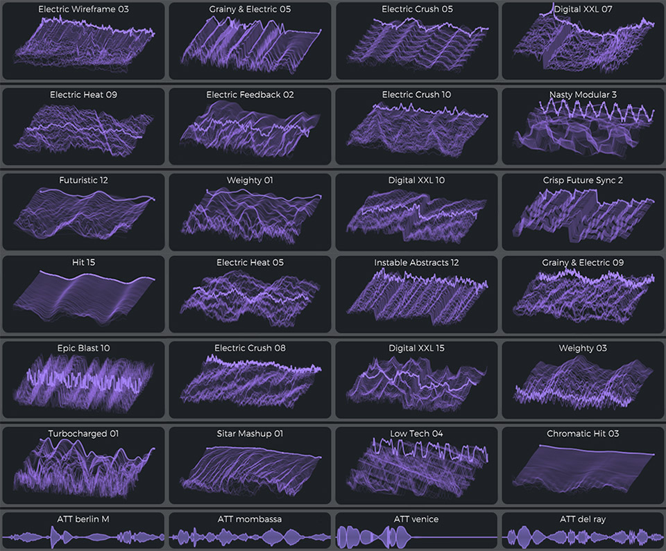 collage of custom wavetables used in the presets pack for vital called Retro X Now
